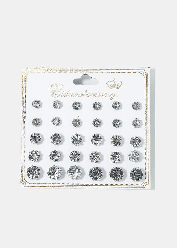 15-Pair Multi-Size Clear Gem Studs