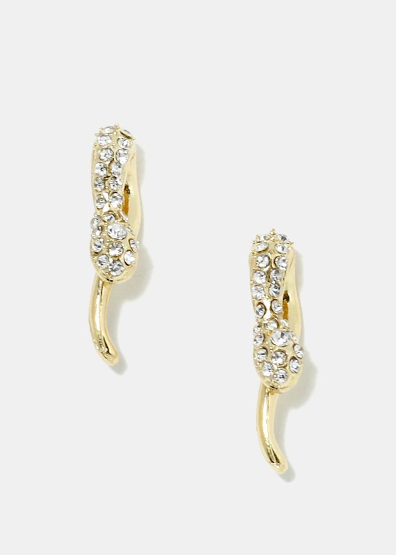 Rhinestone Studded Snake Head Earrings
