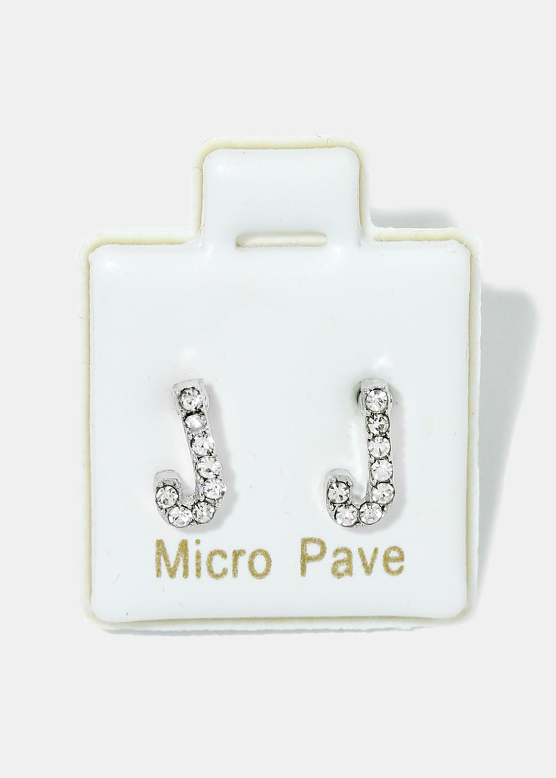 Small Rhinestone Initial Earrings