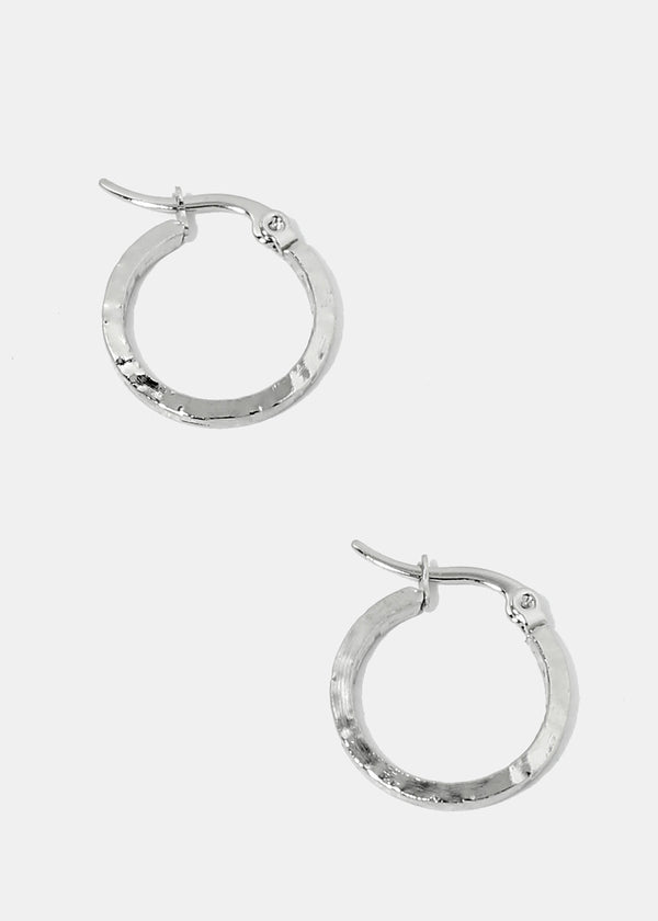 Small Thick Flat Hoop Earrings