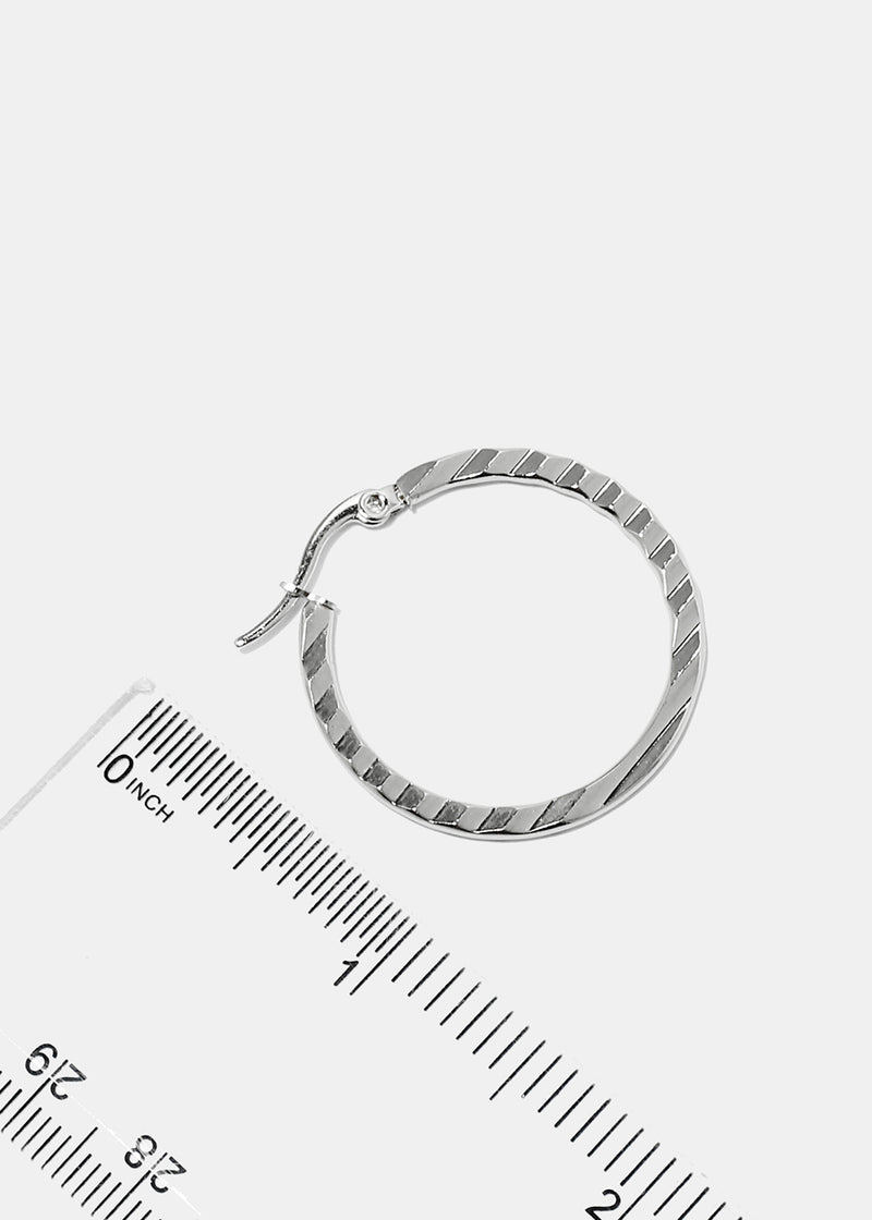 Small Textured Flat Hoop Earrings