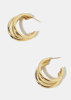 Layered Thick Open Hoop Earrings