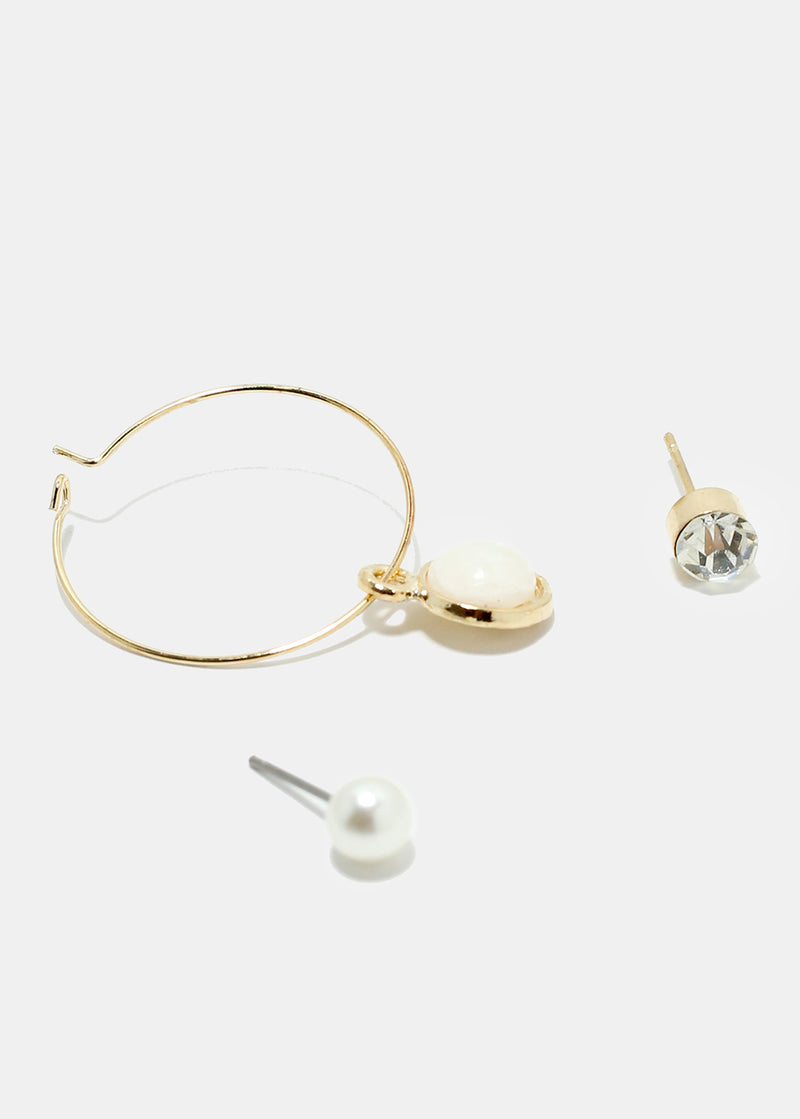 3-Pair Pearl & Hoop Earrings