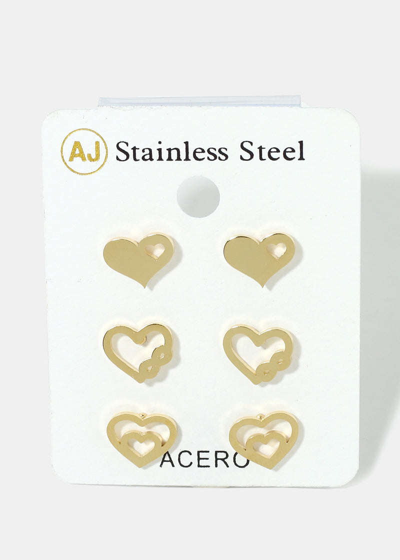 3-Pair Heart Earrings