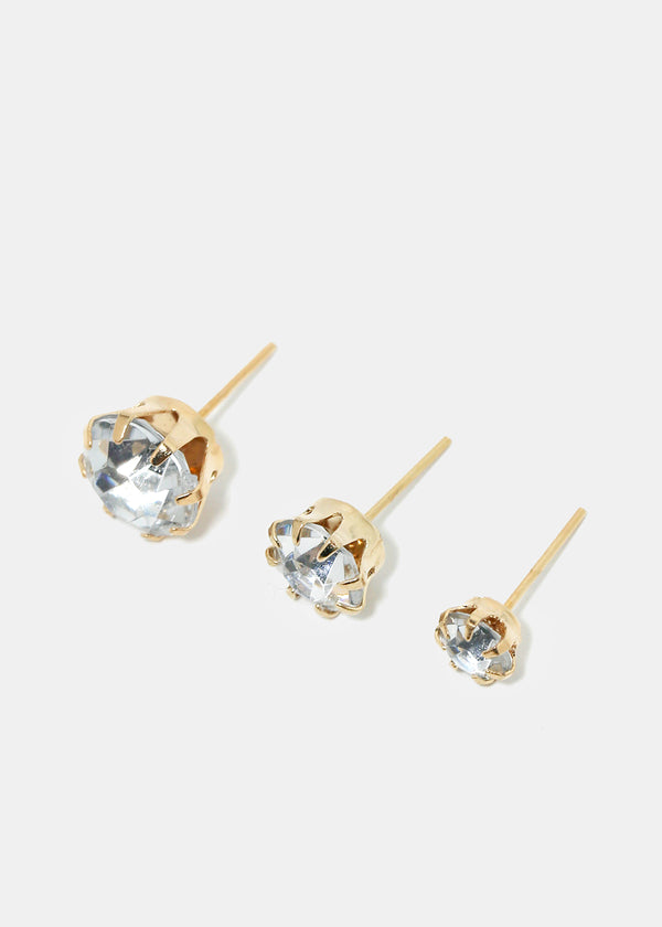 15-Pair Rhinestone Stud Earrings