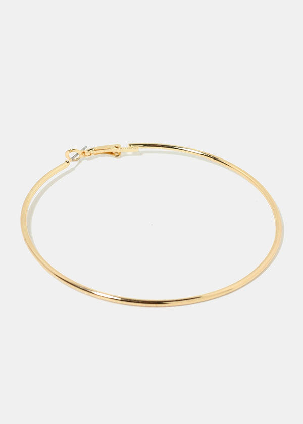 70MM Gold Metal Hoop Earrings