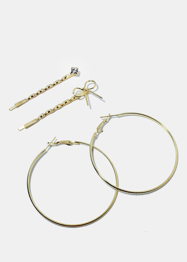 3-Piece Hoop Earrings & Hair Pins