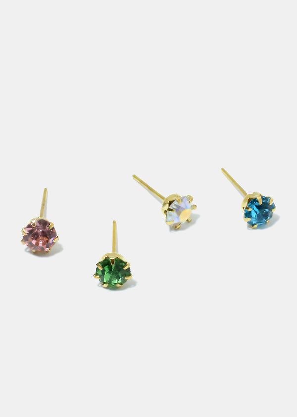 18-Pair Rhinestone Stud Earrings