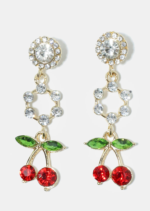Dangling Rhinestone Cherry Earrings