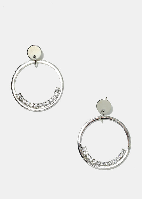 Hoop with Rhinestone Accents Earrings