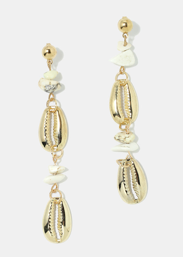 Cowrie & Stone Dangle Earrings
