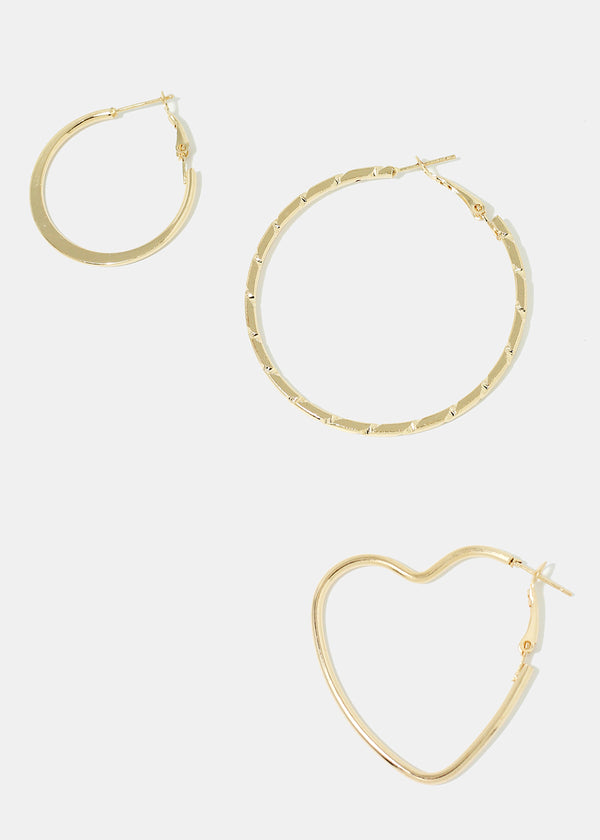 3-Pair Heart & Hoop Earrings