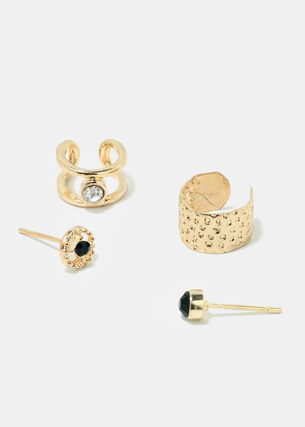 4-Piece Gold Earcuff & Earrings Set