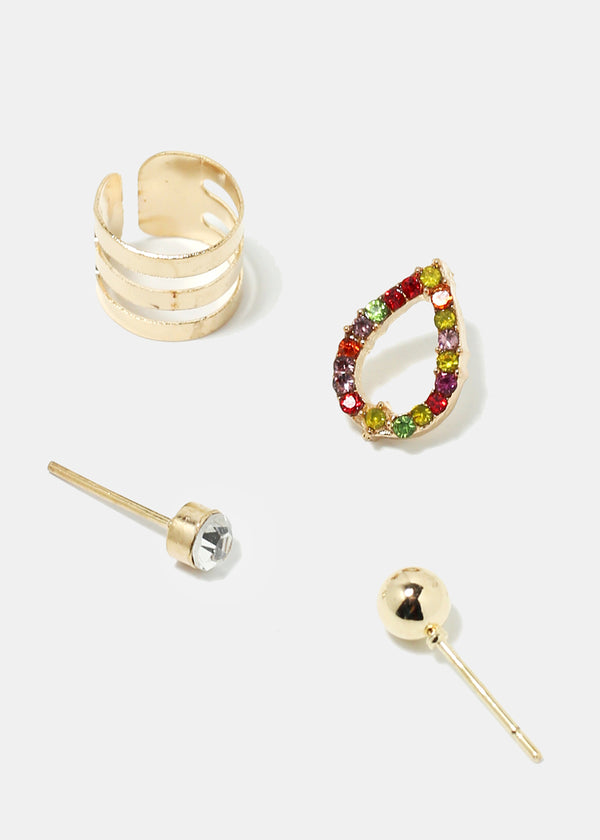 4-Piece Earrings & Earcuff Set