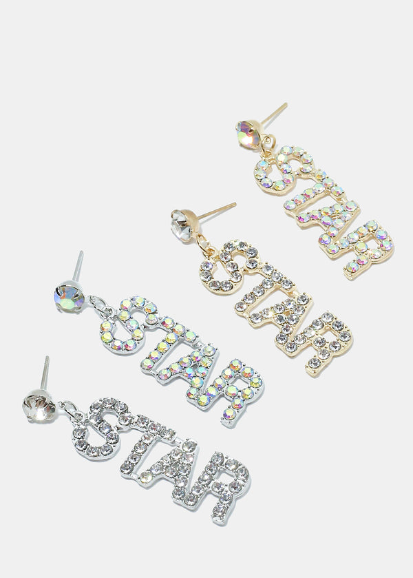 "Rhinestone ""STAR"" Dangle Earrings"