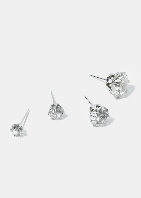 12-Pair Gemstone Stud Earrings