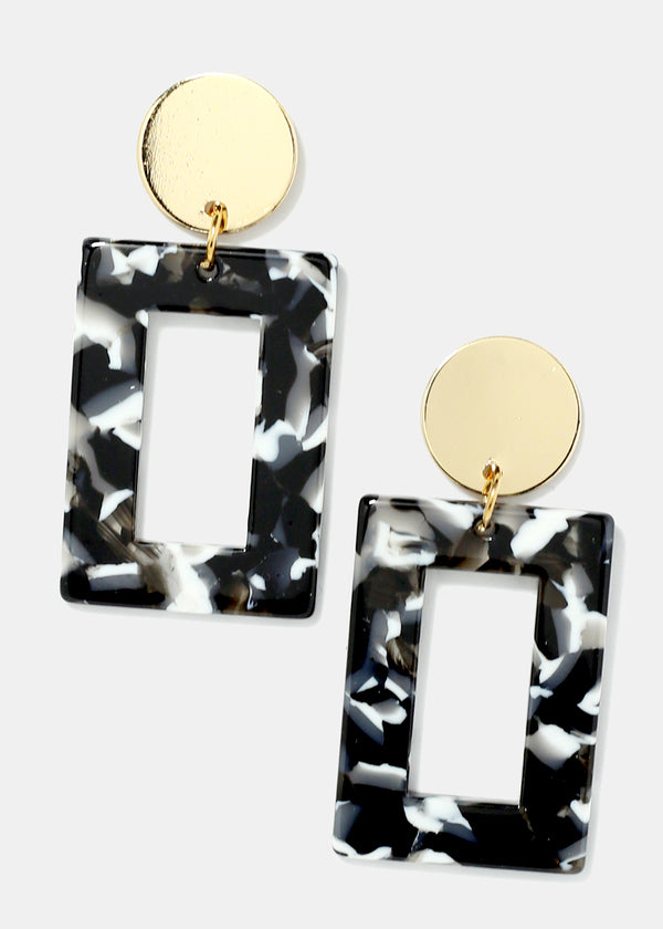 Gold Disk Squared Enamel Earrings