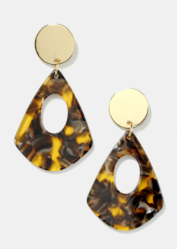 Gold Disk Enamel Dangle Oval Earrings
