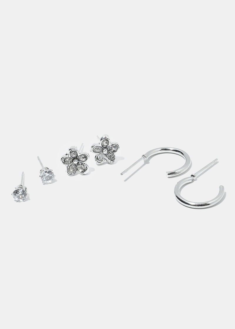 3-Pair Rhinestone Flower & Half Hoop Earrings