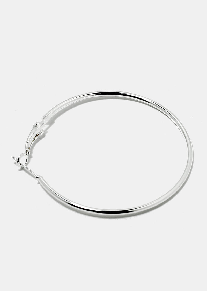 6-Pair Silver Metal Hoop Earrings