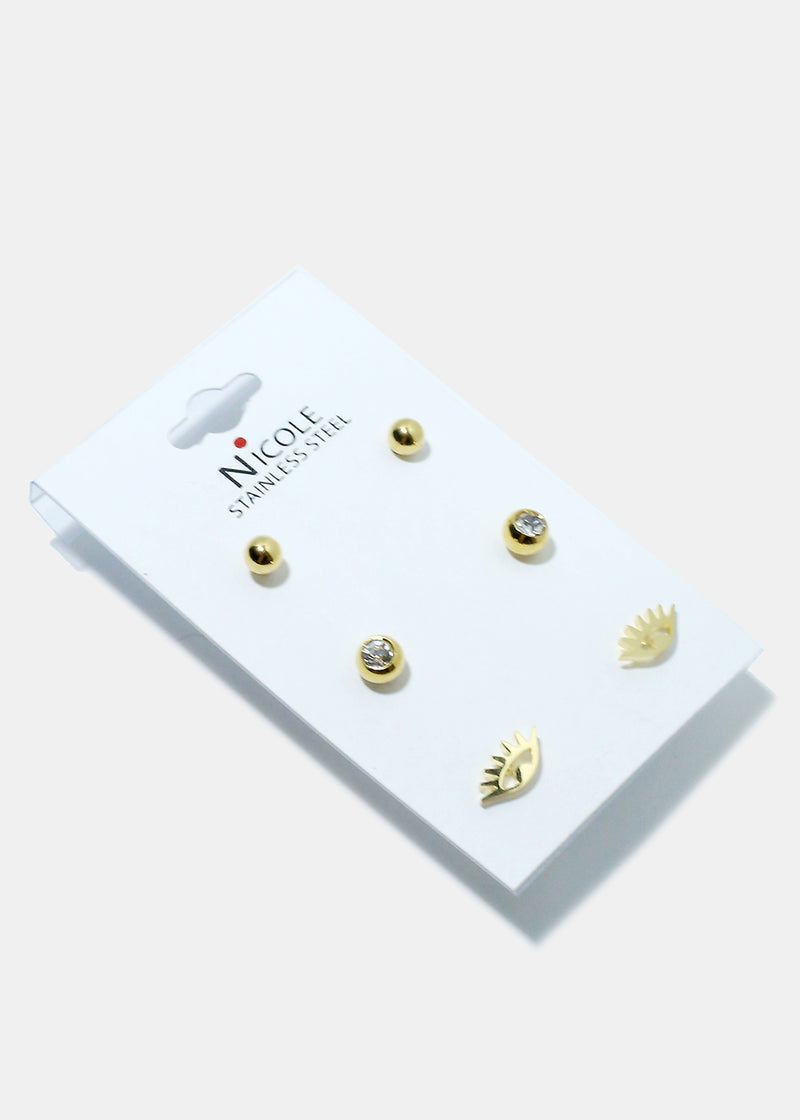 3-Pair Multi Design Small Earrings