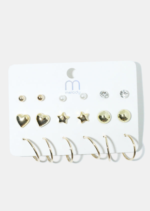 9-Pair Multi Design Earrings
