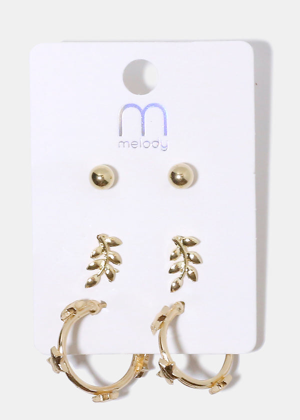 3-Pair Multi Design Earrings