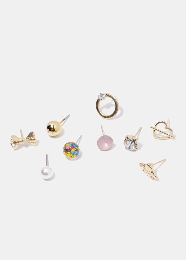 9-Pair Multi Design Stud Earrings