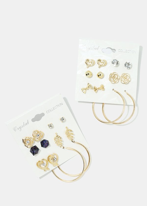 6-Pair Multi Design Earring Set