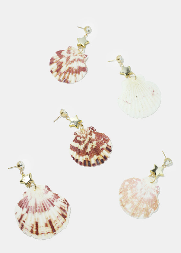 Seashell & Rhinestone Earrings