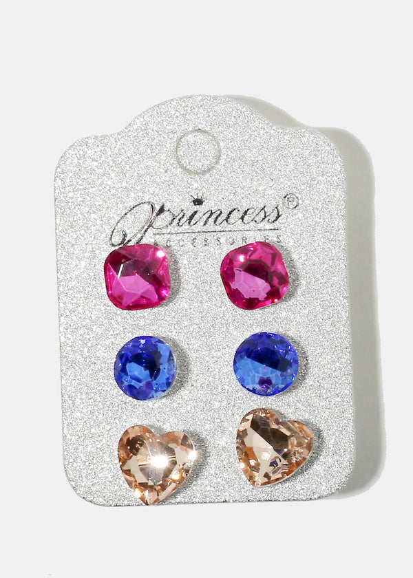 3-Piece Multi Shaped Gemstone Earrings