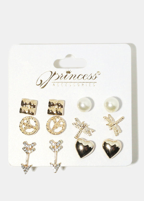 6-Pair Multi Design Earrings