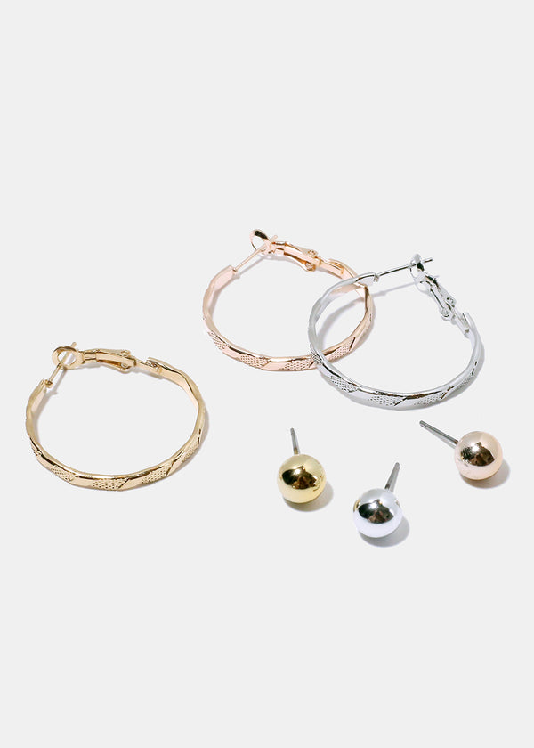 6-Pair Metal Ball & Hoop Earrings