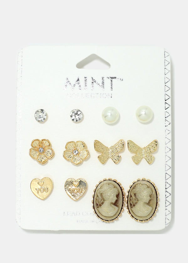 6-Pair Butterfly & Cameo Earrings