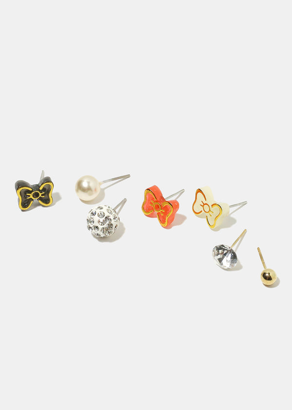 12-Pair Bow Multi Design Earrings