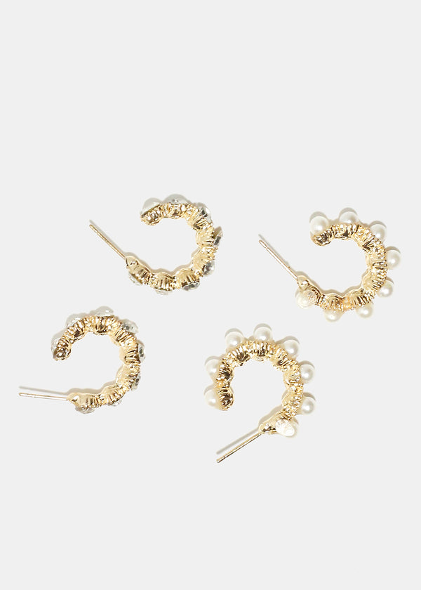 2-Pair Pearl & Rhinestone Open Hoop Earrings