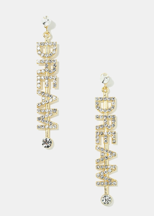 "Rhinestone ""DREAM"" Dangle Earrings"