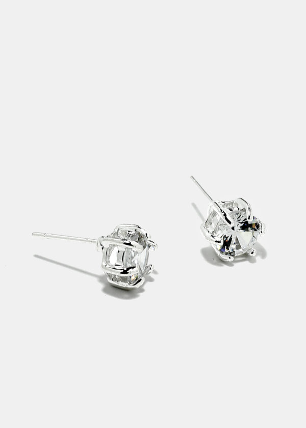 Gemstone Silver Stud Earrings