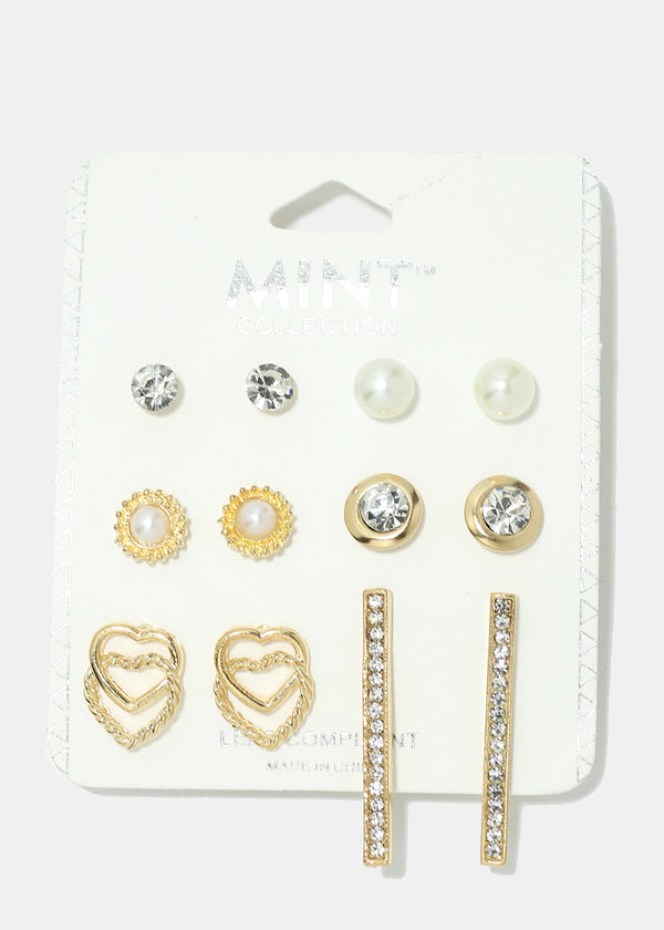 6-Pair Heart & Bar Earring Set