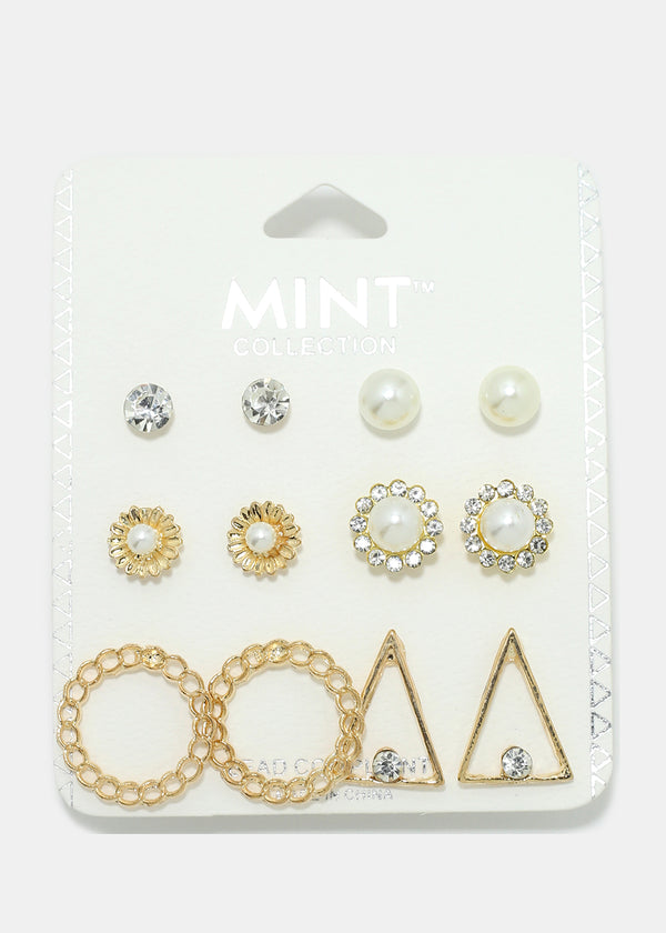 6-Pair Circle & Triangle Earring Set