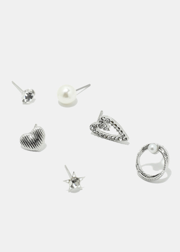6-Pair Heart Earring Set