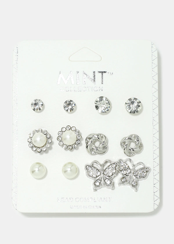 6-Pair Rhinestone Studded Butterfly Earrings