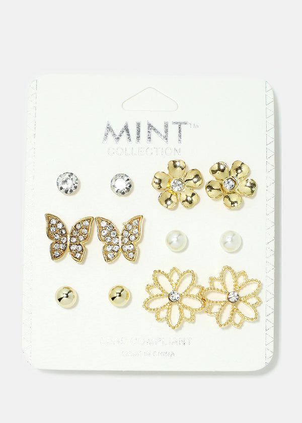 6-Pair Butterfly & Flower Earring Set