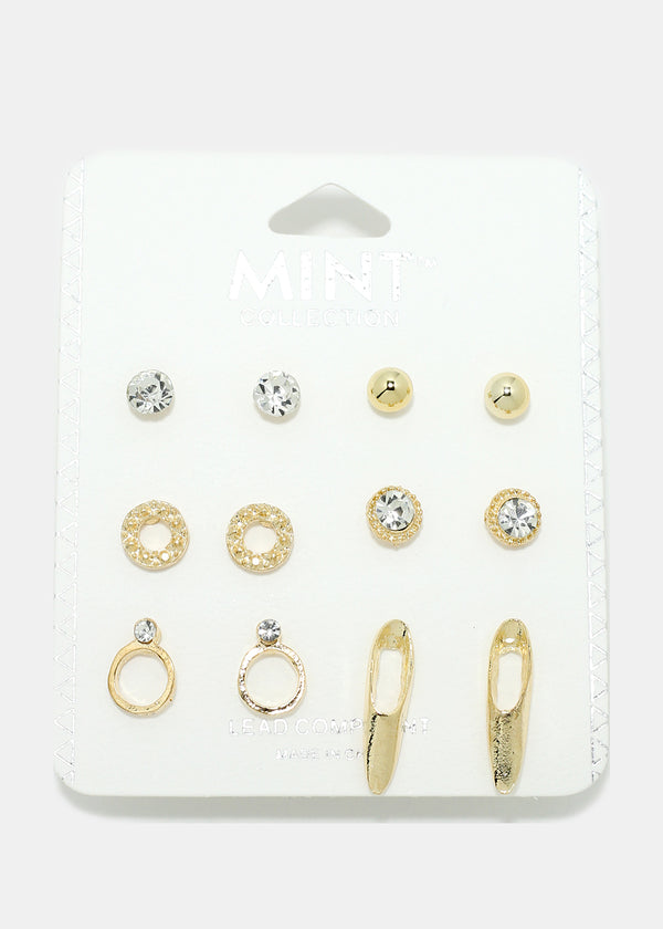 6-Pair Rhinestone & Metal Earring Set