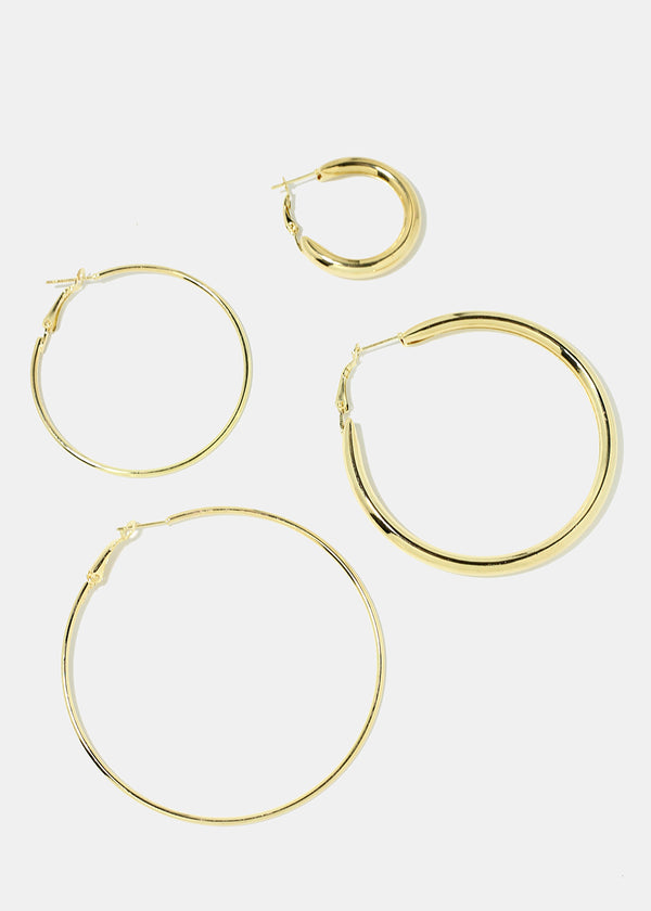 4-Pair Multi Size Hoop Earrings
