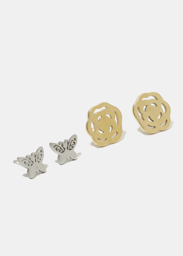 2-Piece Butterfly & Flower Stud Earrings