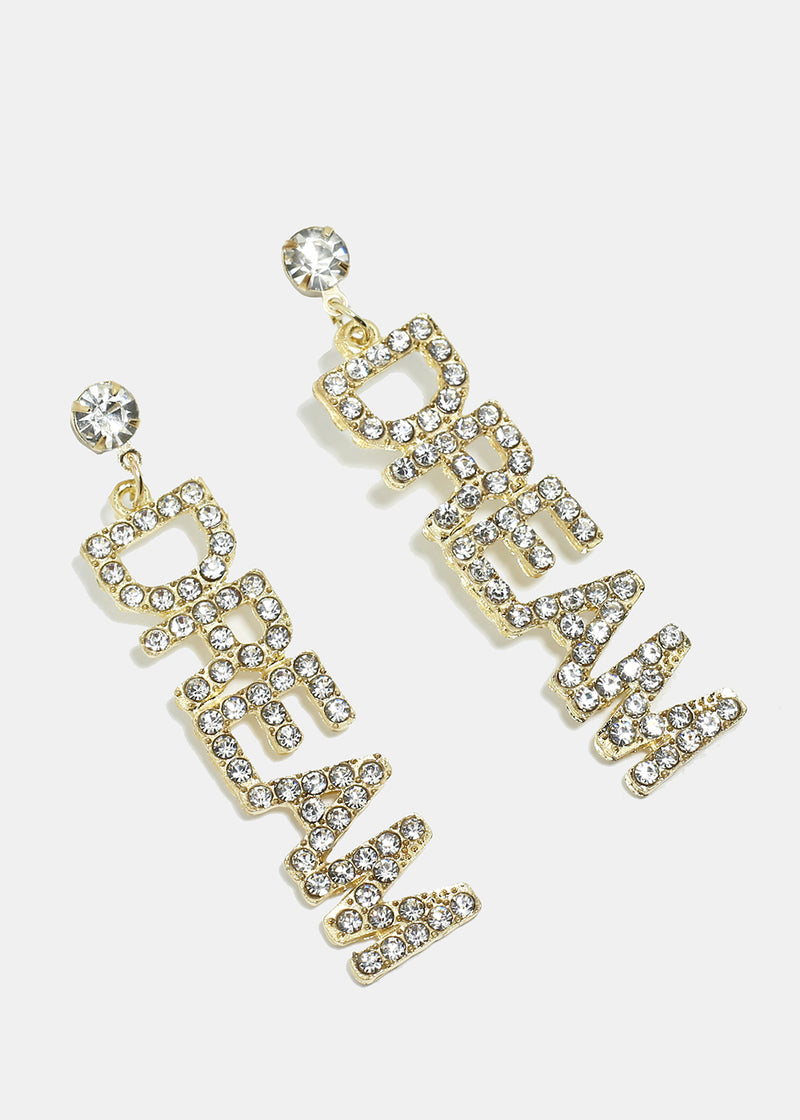"Rhinestone Studded ""DREAM"" Earrings"