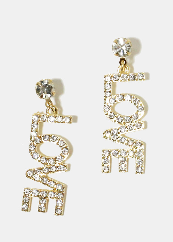 "Rhinestone ""LOVE"" Dangle Earrings"