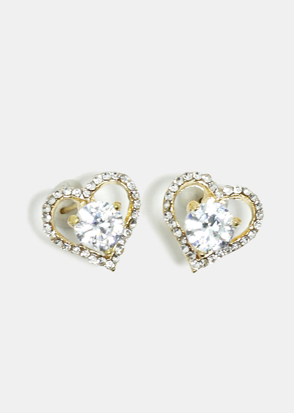 Rhinestone Studded Heart Stud Earrings