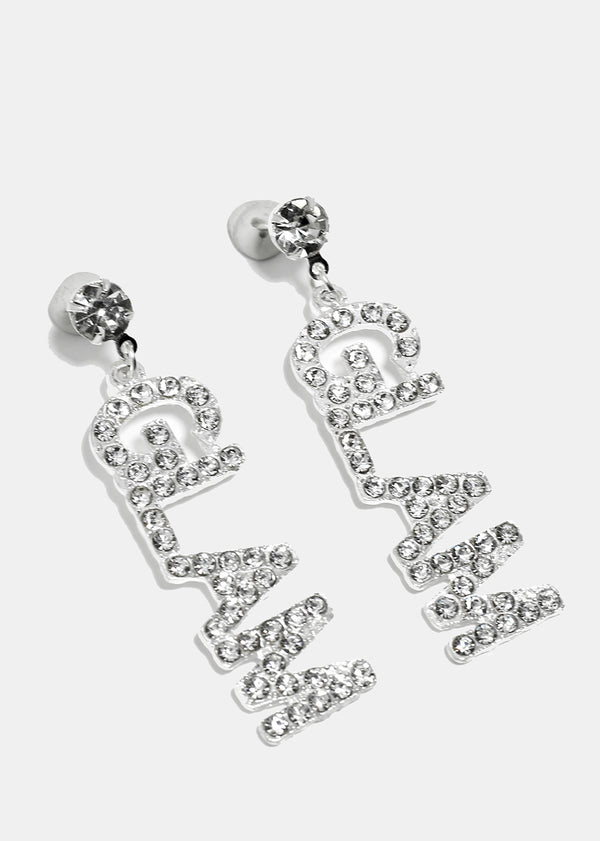 "Rhinestone Studded ""GLAM"" Earrings"